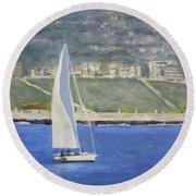 White Boat, Blue Sea Round Beach Towel