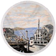 Round Beach Towel featuring the painting White Boat In Peggys Cove Nova Scotia by Ian  MacDonald