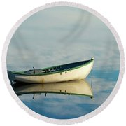 White Boat Reflected Round Beach Towel