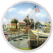 White Boat With Flags In Broad Channel Round Beach Towel