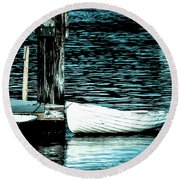 Round Beach Towel featuring the photograph White Boats by Ronda Broatch