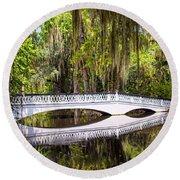 White Bridge Of Magnolia Plantation Round Beach Towel
