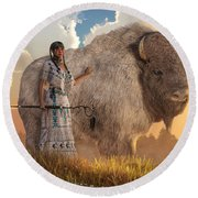 White Buffalo Calf Woman Round Beach Towel