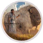White Buffalo Calf Woman Round Beach Towel