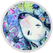 Round Beach Towel featuring the painting White Bull Terrier And Butterfly by Zaira Dzhaubaeva