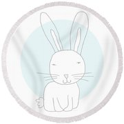 White Bunny On Blue- Art By Linda Woods Round Beach Towel