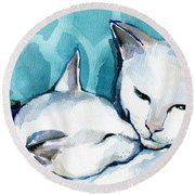 White Cat Affection Round Beach Towel