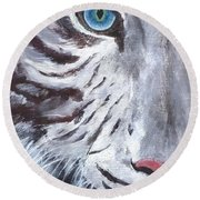 White Cat Round Beach Towel