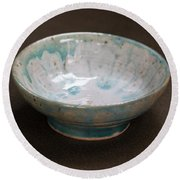 White Ceramic Bowl With Turquoise Blue Glaze Drips Round Beach Towel by Suzanne Gaff
