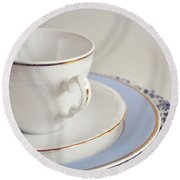 Round Beach Towel featuring the photograph White China Cup, Saucer And Plates by Lyn Randle