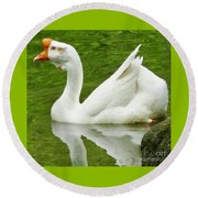 White Chinese Goose Round Beach Towel by Susan Garren