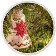 White Christmas Ornament Round Beach Towel