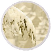 Round Beach Towel featuring the photograph White Christmas - Winter In Switzerland by Susanne Van Hulst