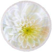 White Chrysanthemum Round Beach Towel