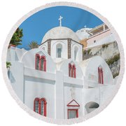 Round Beach Towel featuring the photograph White Church At Fira by Antony McAulay