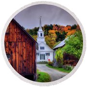 Round Beach Towel featuring the photograph White Church In Autumn - Waits River Vermont by Joann Vitali
