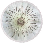 White Clematis Flower Garden 50121b Round Beach Towel