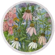 Round Beach Towel featuring the painting White Coneflowers In Garden by Laurie Rohner