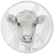 White Cow Round Beach Towel
