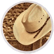 White Cowboy Hat On Fence Round Beach Towel