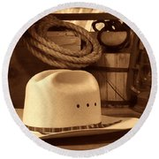 White Cowboy Hat On Workbench Round Beach Towel