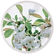 White Crabapple Blossoms Round Beach Towel