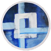 White Cross Round Beach Towel by Tamara Savchenko