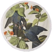 White Crowned Pigeon Round Beach Towel