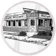 White Crystal Diner Nj Sketch Round Beach Towel