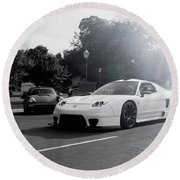 Round Beach Towel featuring the photograph White Custom Nsx  by Joel Witmeyer