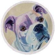 White Dog Portrait Round Beach Towel