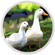 Round Beach Towel featuring the mixed media White Ducks by Charles Shoup