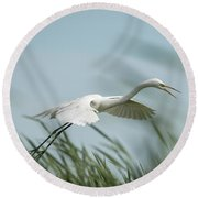 White Egret 2016-2 Round Beach Towel