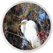White Egret Bird Round Beach Towel