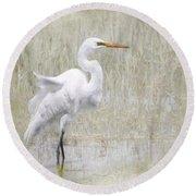 White Egret Rectangle Round Beach Towel