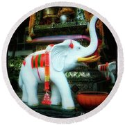 Round Beach Towel featuring the photograph White Elephant. Meaning A Big Expensive by Mr Photojimsf