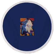 Round Beach Towel featuring the painting White Face Cow by Jenn Cunningham