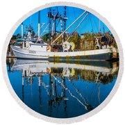 White Fishing Boat Reflection Round Beach Towel
