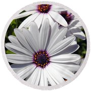White Flower 1 Round Beach Towel