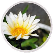 White Flower 3 Round Beach Towel