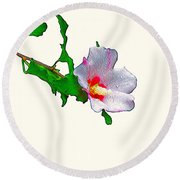 White Flower And Leaves Round Beach Towel
