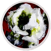 White Flower On Red Background Round Beach Towel by Craig Walters