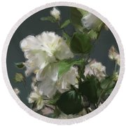 White Flowers 103 Round Beach Towel