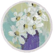 White Flowers Round Beach Towel by P J Lewis