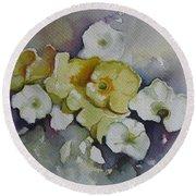 White Flowers, Yellow Flowers... Round Beach Towel