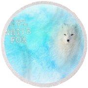 White Fox Spirit Round Beach Towel