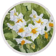 White Garden Blossoms Watercolor On Masa Paper Round Beach Towel
