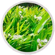 White Ginger In The Rainforest  Round Beach Towel