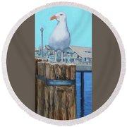 White Gull Round Beach Towel