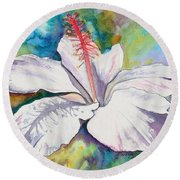 White Hibiscus Waimeae Round Beach Towel